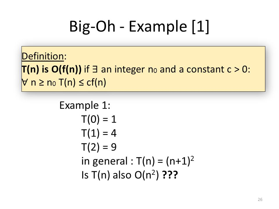 Big-Oh - Example [1] Example 1: T(0) = 1 T(1) = 4 T(2) = 9